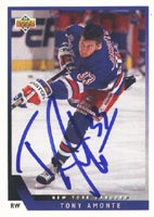 Tony Amonte New York Rangers 1993 Upper Deck Autographed Card. This item comes with a certificate of authenticity from Autograph-Sports. PSM-Powers Sports Memorabilia