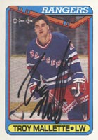 Troy Malette New York Rangers 1990 Opee Chee Autographed Card - Rookie Card. This item comes with a certificate of authenticity from Autograph-Sports. PSM-Powers Sports Memorabilia
