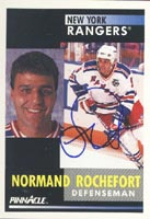 Normand Rochefort New York Rangers 1991 Pinnacle Autographed Card. This item comes with a certificate of authenticity from Autograph-Sports. PSM-Powers Sports Memorabilia