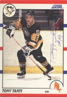 Tony Tanti Pittsburgh Penguins 1990 Score Autographed Card. This item comes with a certificate of authenticity from Autograph-Sports. PSM-Powers Sports Memorabilia