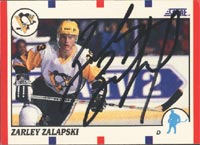 Zarley Zalapski Pittsburgh Penguins 1990 Score Autographed Card. This item comes with a certificate of authenticity from Autograph-Sports. PSM-Powers Sports Memorabilia
