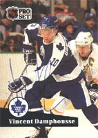 Vincent Damphousse Toronto Maple Leafs 1991 Pro Set Autographed Card - signed in ball point pen. This item comes with a certificate of authenticity from Autograph-Sports. PSM-Powers Sports Memorabilia
