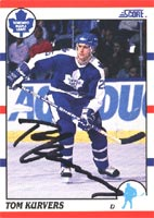 Tom Kurvers Toronto Maple Leafs 1990 Score Autographed Card. This item comes with a certificate of authenticity from Autograph-Sports. PSM-Powers Sports Memorabilia