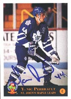 Yanic Perreault St. Johns Maple Leafs - Toronto Maple Leafs 1994 Classic Prospects Autographed Card - Rookie Card. This item comes with a certificate of authenticity from Autograph-Sports. PSM-Powers Sports Memorabilia