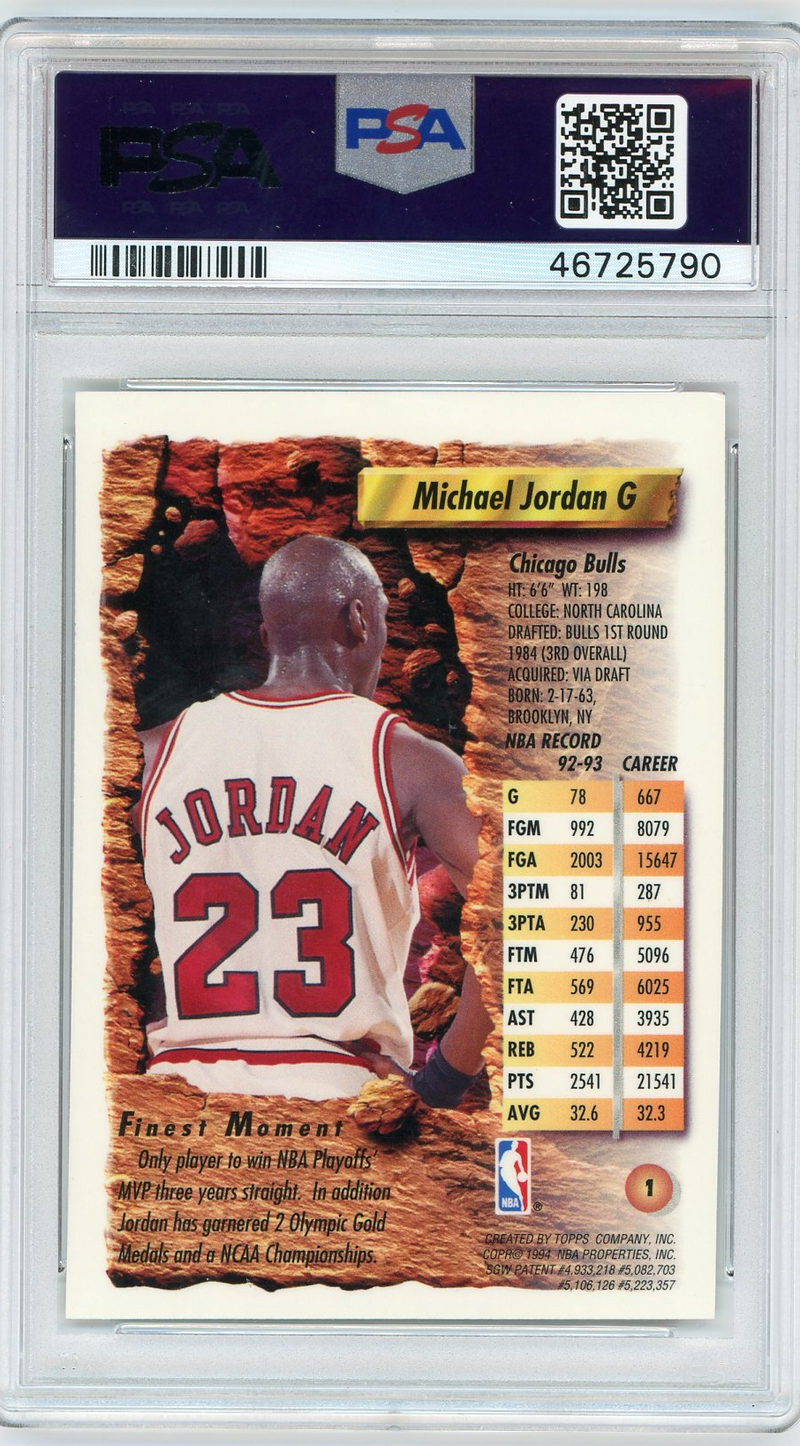Michael Jordan Chicago Bulls 1993 Topps Finest Basketball Card #1 Graded PSA 8 NM-MT-Powers Sports Memorabilia