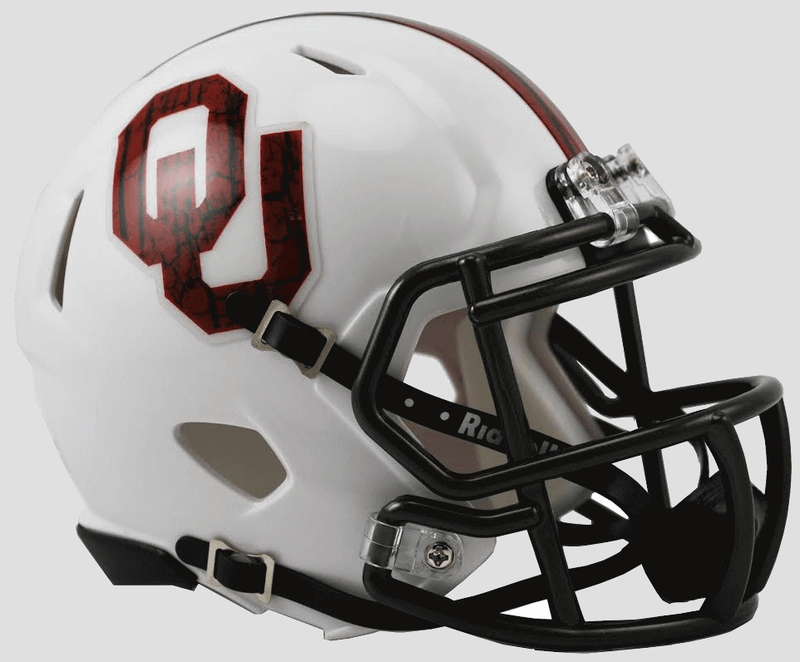 Oklahoma Sooners NCAA Mini Speed Football Helmet B Bring The Wood White B PSM-Powers Sports Memorabilia