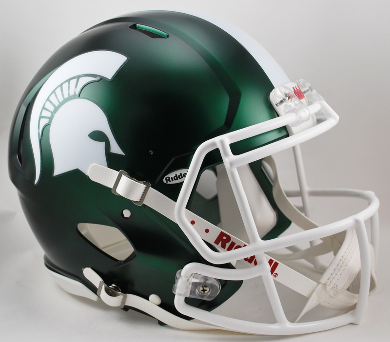 Michigan State Spartans Speed Football Helmet B Satin Green B PSM-Powers Sports Memorabilia