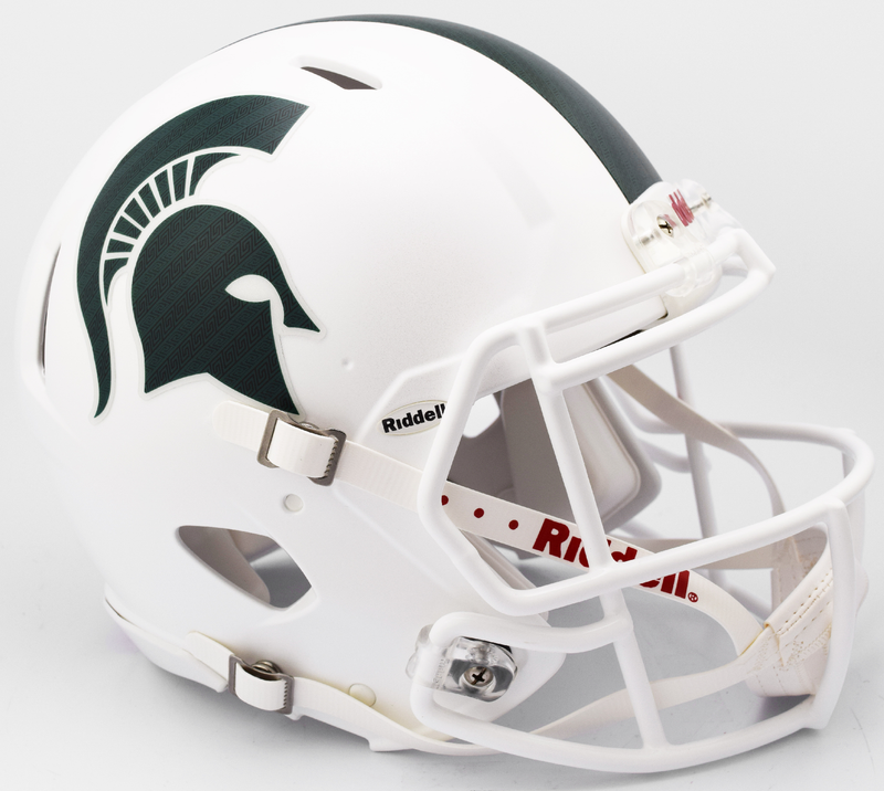 Michigan State Spartans Speed Football Helmet B Metallic Matte White 2017 B PSM-Powers Sports Memorabilia
