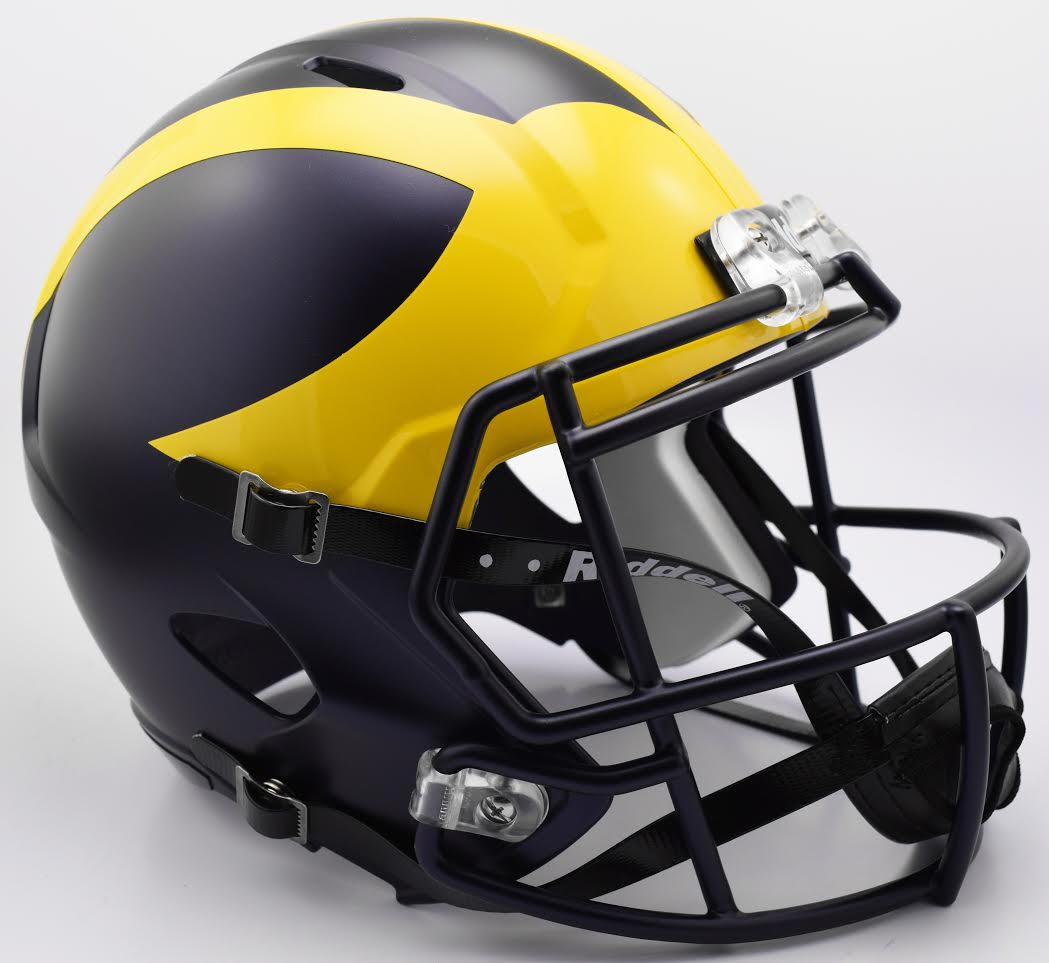 Michigan Wolverines Speed Replica Football Helmet B 2016 Painted Matte B PSM-Powers Sports Memorabilia