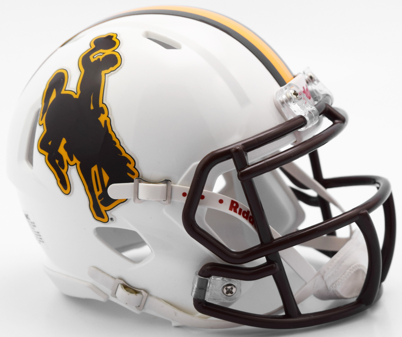 Wyoming Cowboys NCAA Mini Speed Football Helmet B New 2016 B PSM-Powers Sports Memorabilia