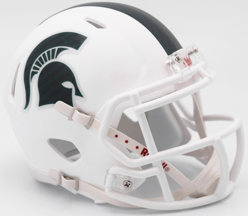 Michigan State Spartans NCAA Mini Speed Football Helmet B Matte White 2017 Alt B PSM-Powers Sports Memorabilia