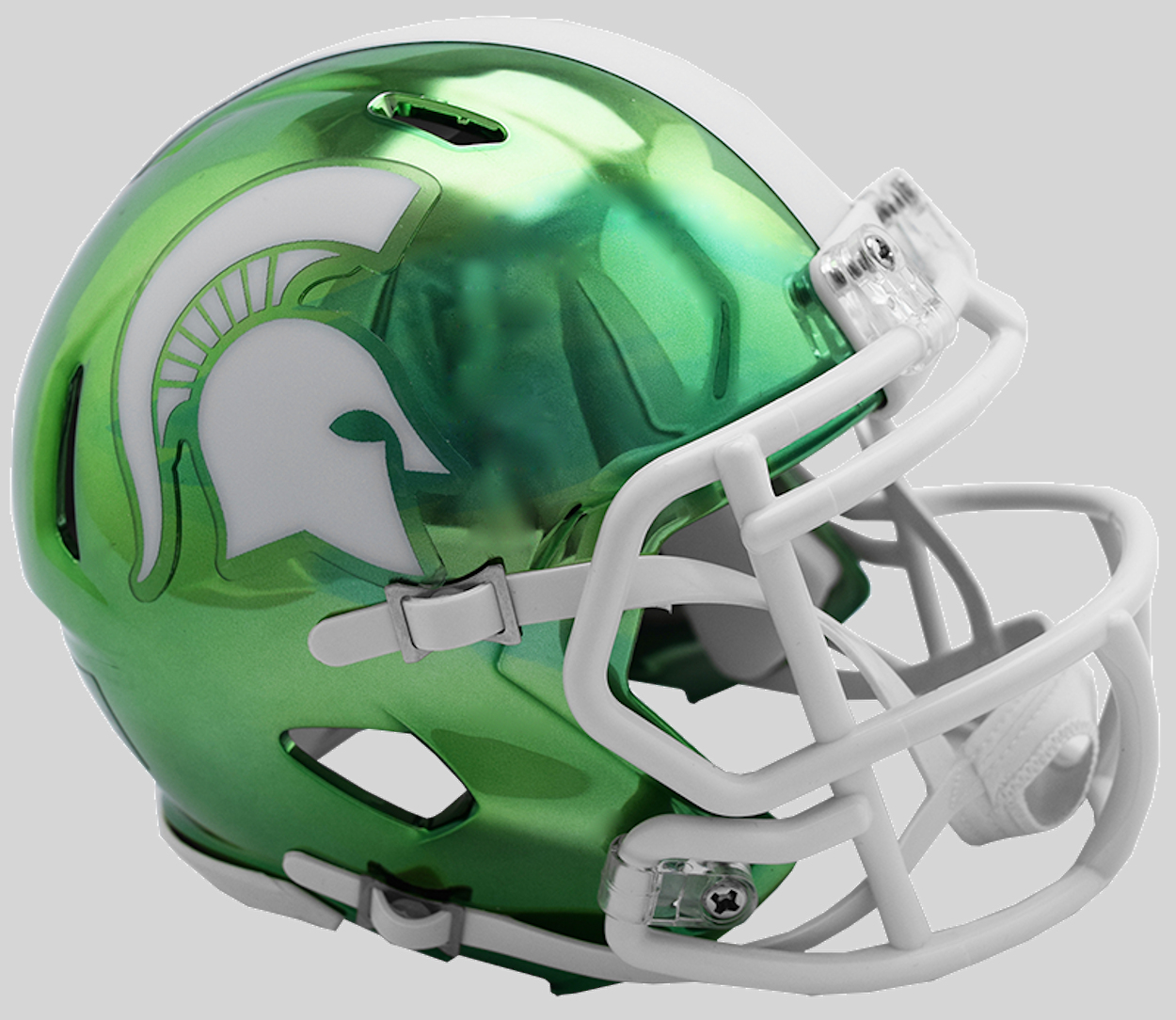Michigan State Spartans NCAA Mini Chrome Speed Football Helmet B NEW 2018 Chrome B PSM-Powers Sports Memorabilia