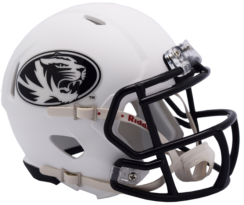 Missouri Tigers NCAA Mini Speed Football Helmet B 2018 Matte White B PSM-Powers Sports Memorabilia