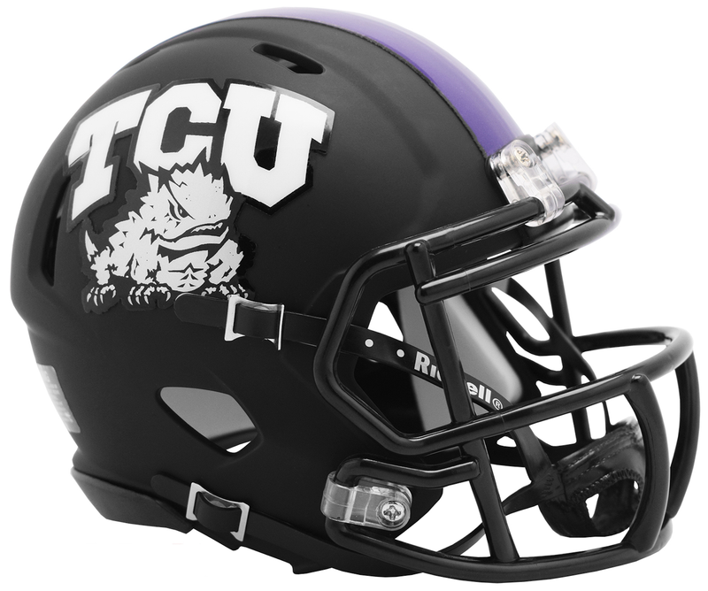TCU Horned Frogs NCAA Mini Speed Football Helmet B 2019 Matte Black B PSM-Powers Sports Memorabilia