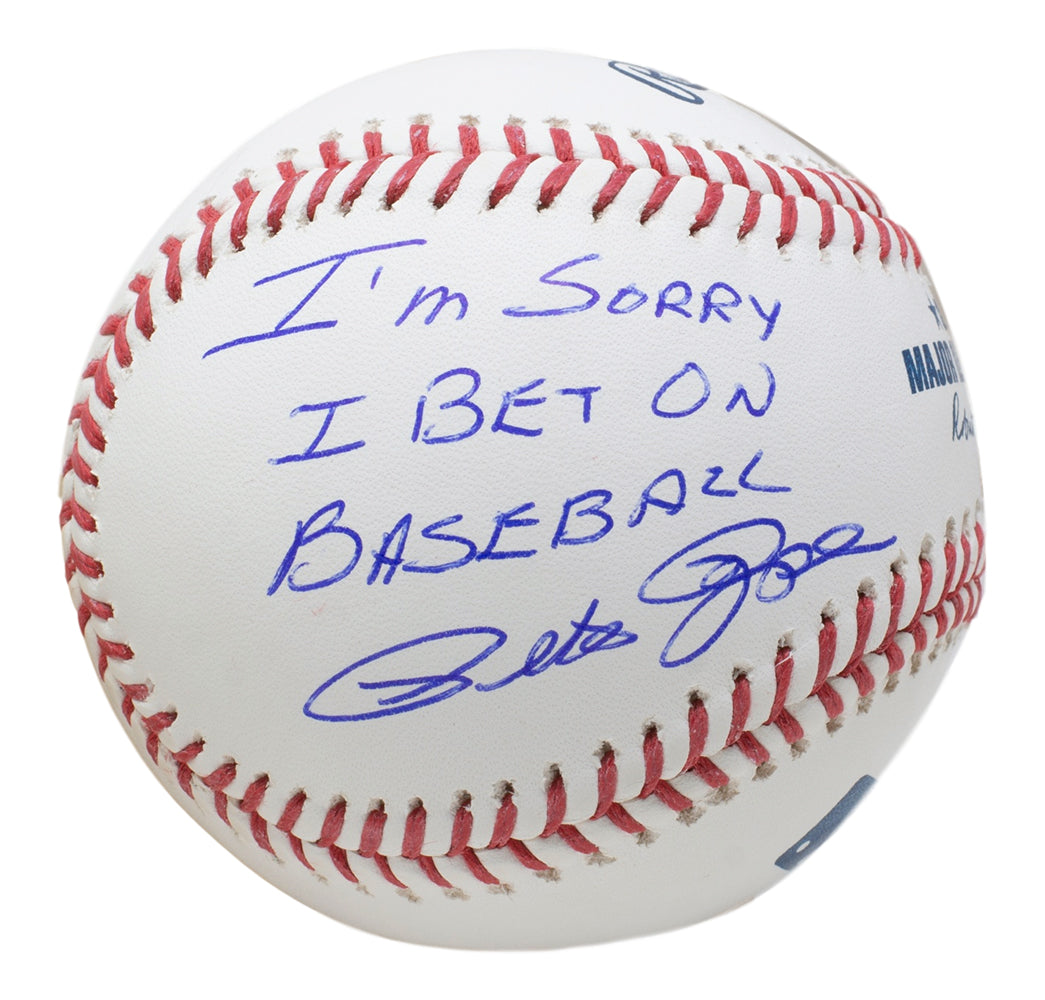 Pete Rose Signed Rawlings MLB Baseball I'm Sorry I Bet On Baseball Inscribed JSA PSM-Powers Sports Memorabilia
