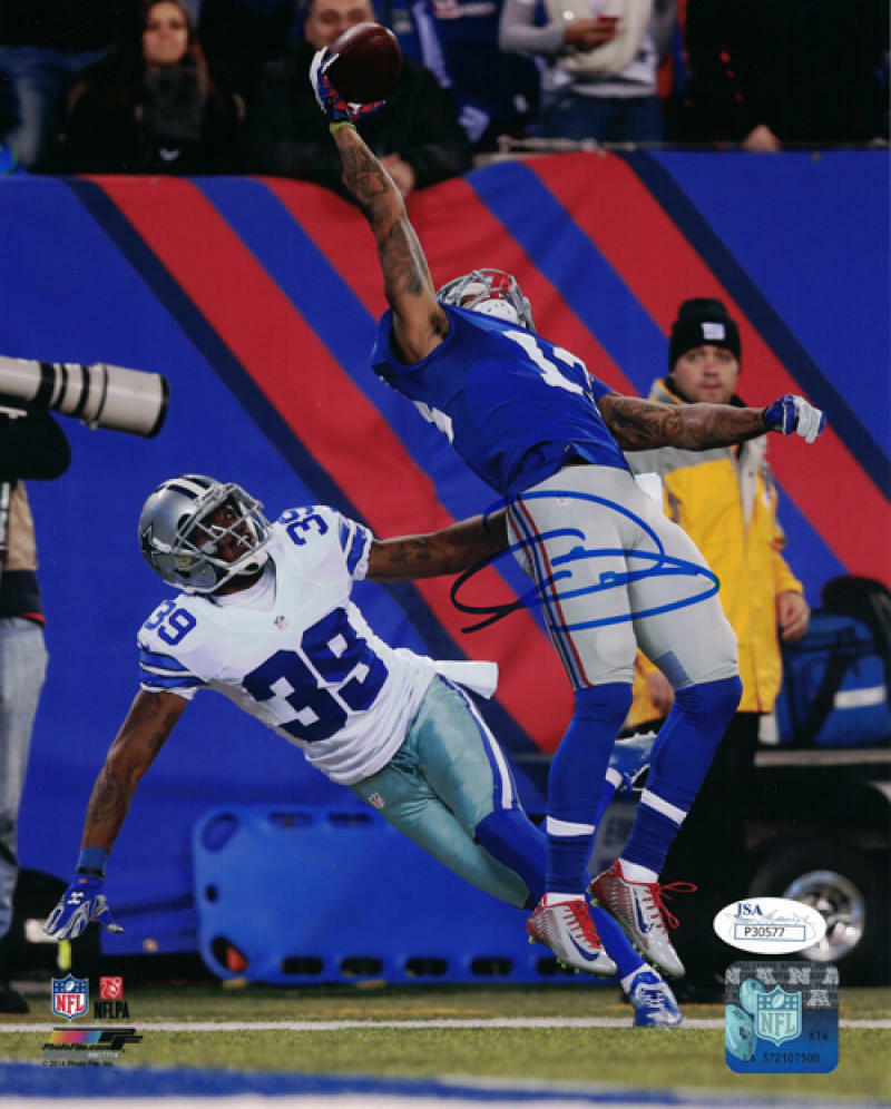 Odell Beckham Jr. Autographed New York Giants 8x10 Photo (The Catch Vertical) JSA PSM-Powers Sports Memorabilia