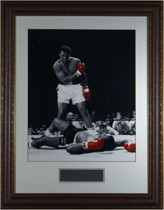 Muhammad Ali unsigned 16x20 B&W Spotlight Photo Black Leather Framed over Sonny Liston Liston PSM-Powers Sports Memorabilia