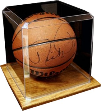 Basketball unsigned Display Case with Wood Base PSM-Powers Sports Memorabilia