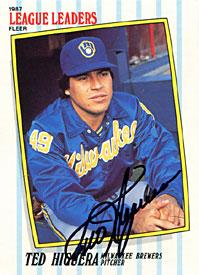 Ted Higuera Autographed / Signed 1987 Fleer No.23 of 44 Milwaukee Brewers Baseball Card PSM-Powers Sports Memorabilia