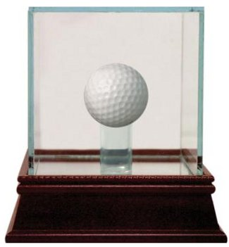 Golf Ball - Steiner Sports Deluxe Glass Display Case w/ Cherry Wood Base & Mirror Bottom PSM-Powers Sports Memorabilia