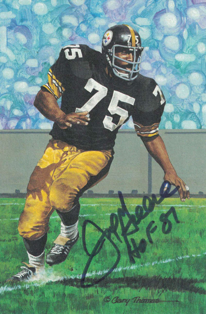 Joe Greene Autographed Pittsburgh Steelers Goal Line Art Card (Blue HOF) PSM-Powers Sports Memorabilia