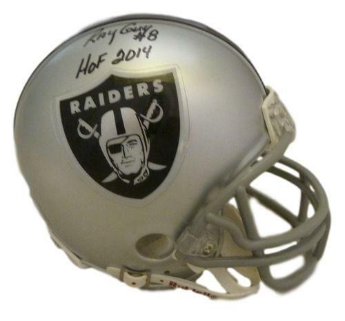 Ray Guy Autographed Oakland Raiders Mini Helmet w/HOF 2014 & JSA PSM-Powers Sports Memorabilia