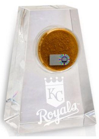 "Kansas City Royals Tapered Crystal With Certified Authentic Field Dirt Display- MLB Hologram 4.5"" - New PSM-Powers Sports Memorabilia"