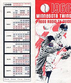 Minnesota Twins Unsigned 1968 Roster / Squedule Baseball Program PSM-Powers Sports Memorabilia