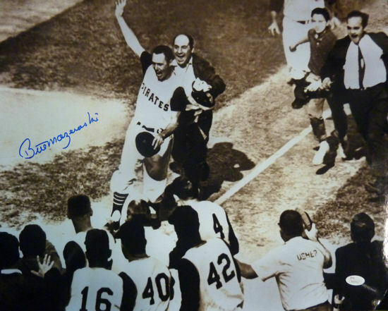 Bill Mazeroski Autographed Pittsburgh Pirates 16x20 Photo (B&W) JSA PSM-Powers Sports Memorabilia