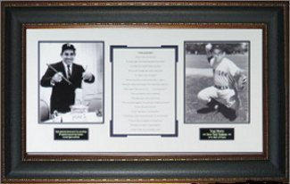 Yogi Berra New York Yankees Vintage 2 Photo YOGI-ISMS 34X21 Premium Leather Framing PSM