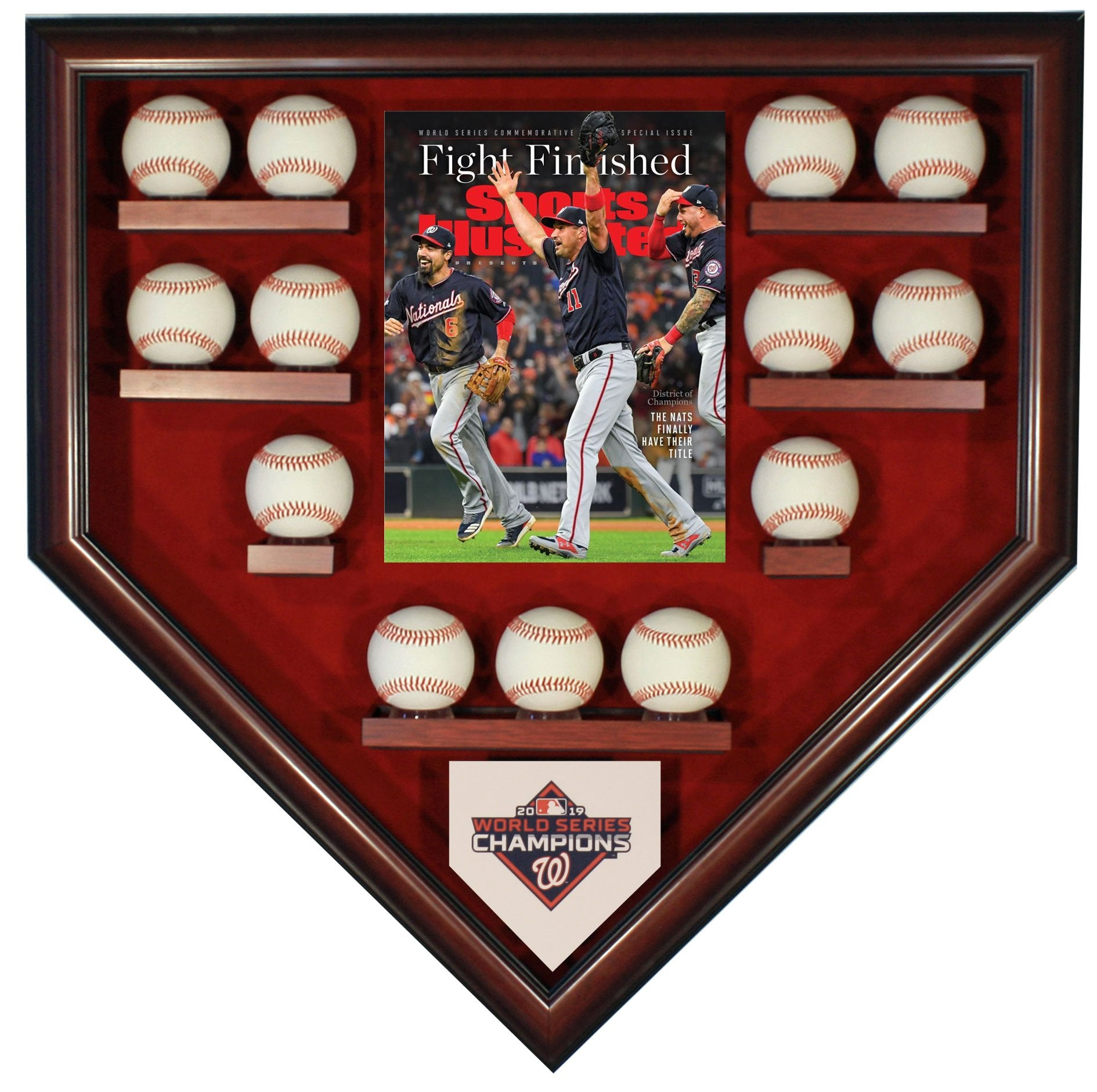 13 BASEBALL W/SI WASHINGTON NATIONALS 2019 WORLD SERIES HOMEPLATE SHAPED DISPLAY CASE-Powers Sports Memorabilia