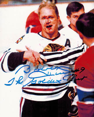 "Bobby Hull signed Chicago Blackhawks 8x10 Photo ""The Golden Jet"" Blood PSM-Powers Sports Memorabilia"