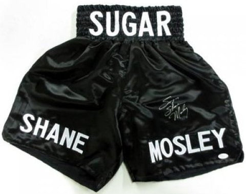 Sugar Shane Mosley signed Black Satin Boxing Trunks PSM-Powers Sports Memorabilia