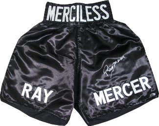 Ray Mercer signed Black Satin Boxing Trunks w/ Merciless (1988 Seoul Olympic Gold) PSM-Powers Sports Memorabilia