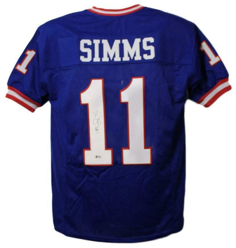 Phil Simms Autographed New York Giants Blue XL Jersey BAS PSM-Powers Sports Memorabilia