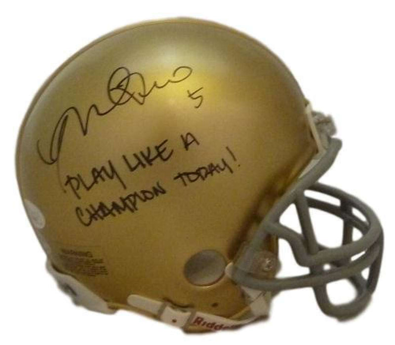 Manti Te'o Autographed Notre Dame Fighting Irish Riddell Mini Helmet Play Like Champion BAS PSM-Powers Sports Memorabilia