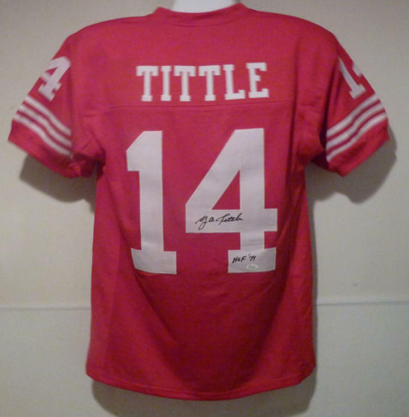 YA Tittle Autographed San Francisco 49ers red size XL jersey JSA PSM-Powers Sports Memorabilia