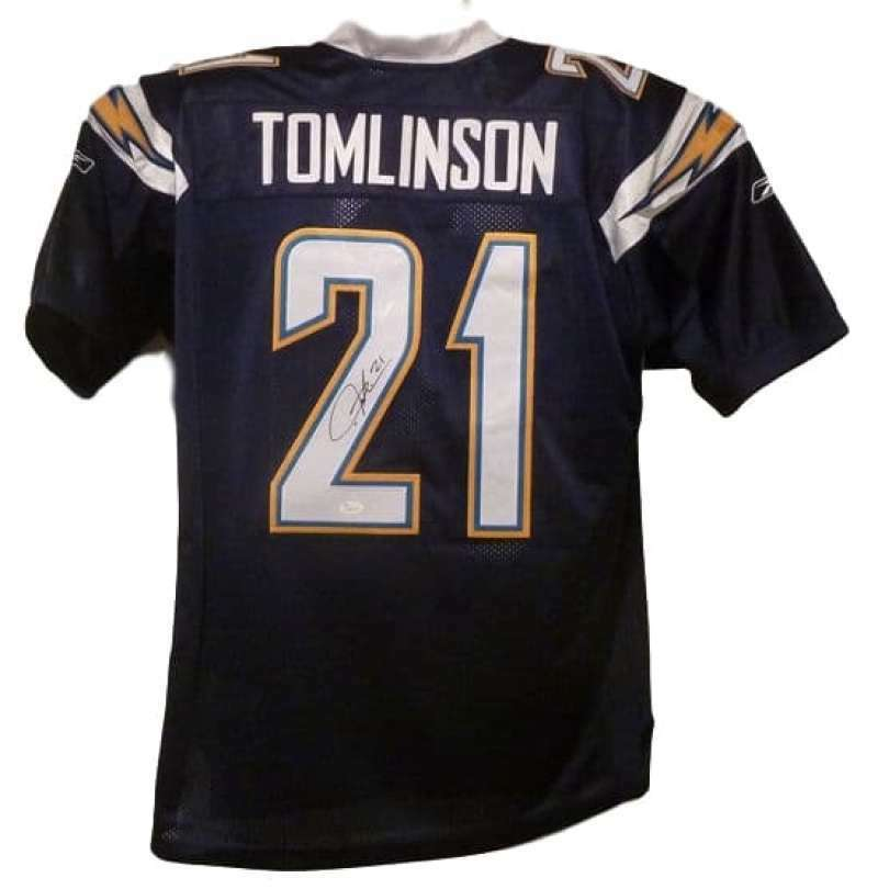 LaDainian Tomlinson Autographed San Diego Chargers Size XL Reebok Current Dark Blue Jersey JSA PSM-Powers Sports Memorabilia