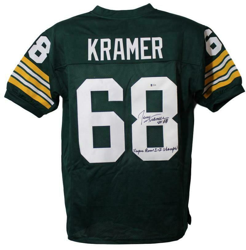Jerry Kramer Autographed Green Bay Packers XL Green Jersey SB 1&2 Champs PSM-Powers Sports Memorabilia