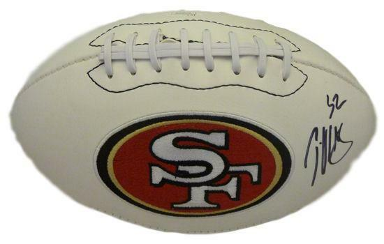 Patrick Willis Autographed San Francisco 49ers white logo football JSA PSM-Powers Sports Memorabilia