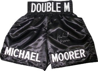 Michael Moorer signed Black Satin Boxing Trunks (Double M-Heavyweight Champion) PSM-Powers Sports Memorabilia