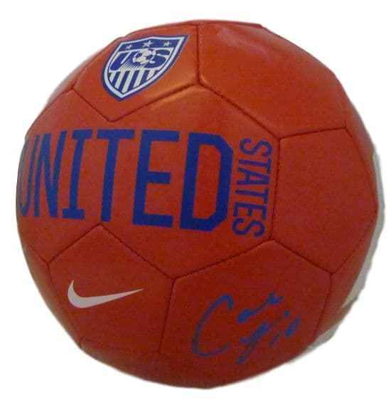 Carli Lloyd Autographed Team USA red soccer ball JSA PSM-Powers Sports Memorabilia