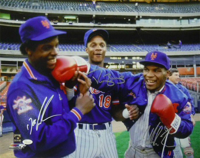 Mike Tyson, Doc Gooden & Darryl Strawberry Autographed New York Mets 16x20 Photo (PF) JSA PSM-Powers Sports Memorabilia