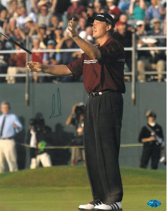 Ernie Els signed 11x14 Photo 2002 British Open arms up- PSA Hologram