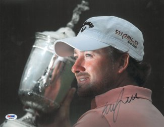 Graeme McDowell signed 11X14 Photo 2010 US Open at Pebble Beach w/ Trophy minor ding- PSA Hologram