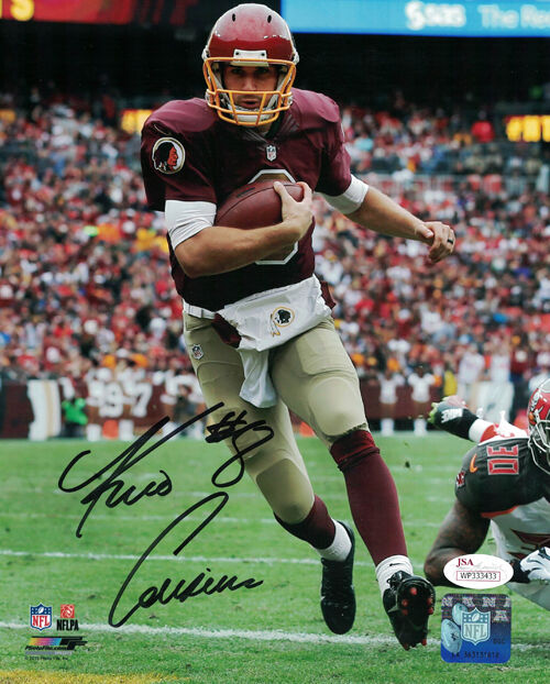Kirk Cousins Autographed Washington Redskins 8x10 Photo (Running) JSA PSM-Powers Sports Memorabilia