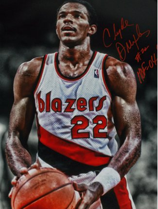 Clyde Drexler signed Portland Trail Blazers 16x20 Photo HOF 04 (foul shot spotlight) PSM-Powers Sports Memorabilia