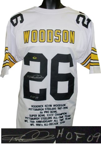 Rod Woodson signed White TB Custom Stitched Pro Style Football Jersey HOF 09 XL w/ Embroidered Stats PSM-Powers Sports Memorabilia
