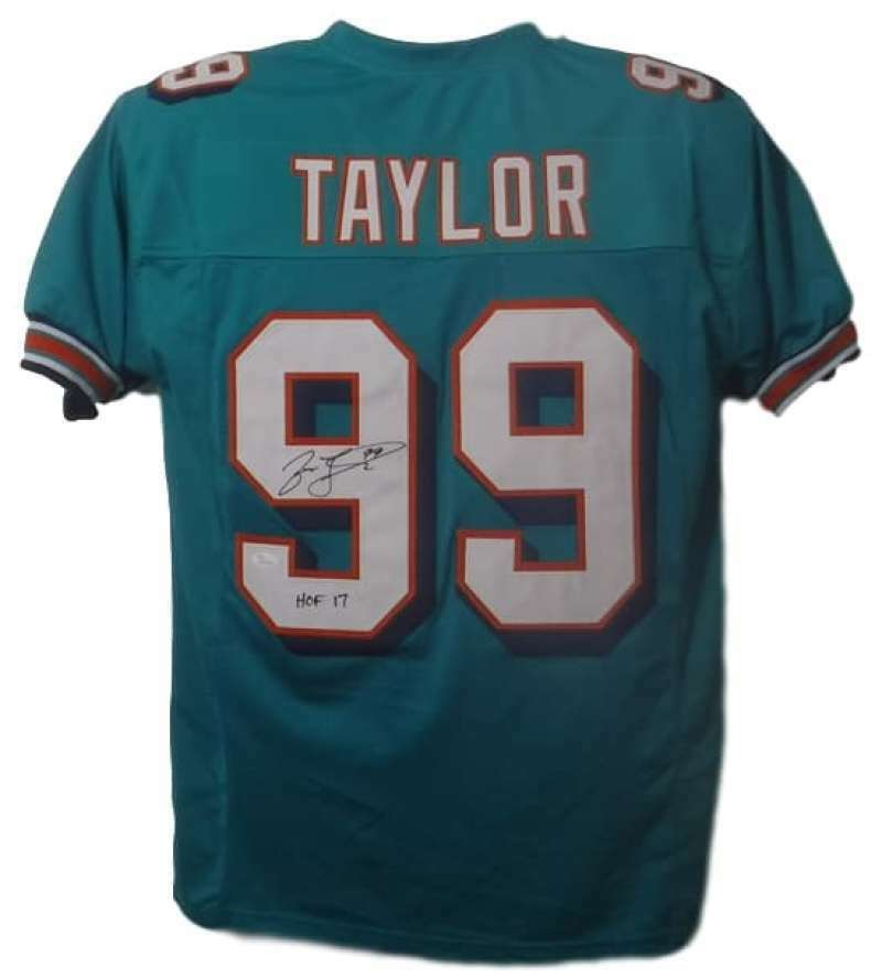 Jason Taylor Autographed Miami Dolphins Custom Size XL Teal Jersey HOF 17 JSA PSM-Powers Sports Memorabilia