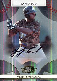 Yefri Carvajal Autographed / Signed 2008 Donruss No.87 429 of 999 San Diego Padres Baseball Card PSM-Powers Sports Memorabilia